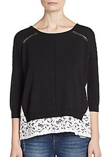 French Connection Lily Double-Layer Lace-Hem Sweater