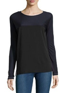 French Connection Long-Sleeve Colorblock Top, Black/White/Blue
