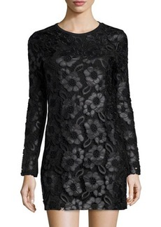 French Connection Long-Sleeve Faux-Leather Daisy-Print Dress w/Lace Overlay