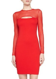 French Connection Long-Sleeve Mesh Dress, Royal Scarlet