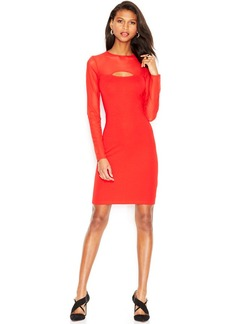 French Connection Long-Sleeve Mesh-Paneled Cutout Dress