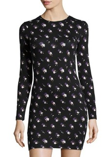 French Connection Long-Sleeve Round-Neck Floral-Print Jersey Dress