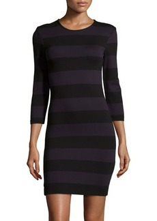 French Connection Long-Sleeve Striped Ponte Dress
