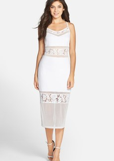 French Connection 'Lucky Layer' Lace Inset Body-Con Midi Dress