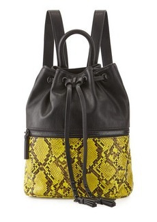 French Connection Mara Snake-Embossed Drawstring Backpack