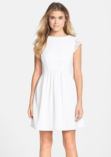 French Connection 'Maui' Embroidered Mesh Bodice Fit & Flare Dress