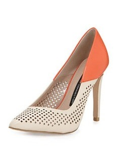 French Connection Maya 2 Perforated Pump, Orange/Sugar