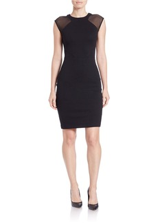 FRENCH CONNECTION Mesh-Accented Sheath Dress