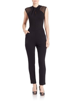 FRENCH CONNECTION Mesh Illusion-Neck Jumpsuit