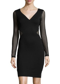 French Connection Mesh-Trim Jersey Sheath Dress