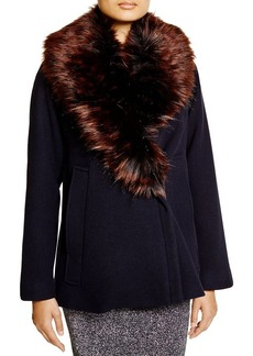 FRENCH CONNECTION Mia Faux Fur Collar Coat