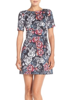 French Connection 'Midnight Rose' Stretch Cotton A-Line Dress