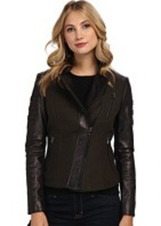 French Connection Mixed Media Peplum Leather Coat