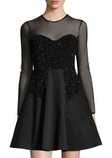 French Connection Moondust Illusion Fit-and-Flare Dress