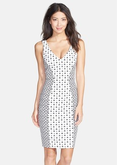 French Connection 'Mosaic' Print Stretch Cotton Sheath Dress
