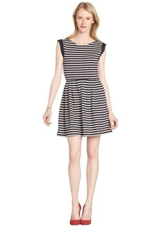 French Connection navy and cream Stripe knit cap sleeve Dress