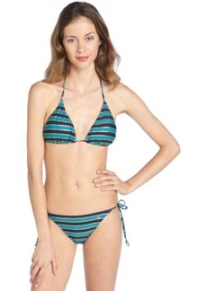 French Connection navy and turquoise stretch 'Sun and Sea' striped side tie bikini bottoms
