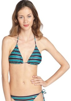 French Connection navy and turquoise stretch 'Sun and Sea' striped sliding halter triangle bikini top