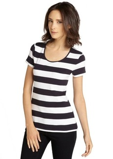 French Connection navy and white striped stretch cotton open back t-shirt