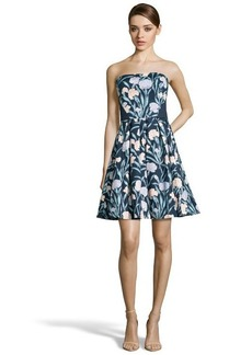 French Connection navy cotton blend 'French Carnation' floral print strapless dress
