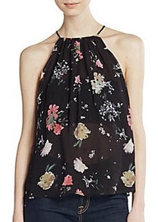 French Connection Nightfall Floral Keyhole Top