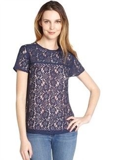French Connection nocturnal blue and peach 'Poppy' lace blouse
