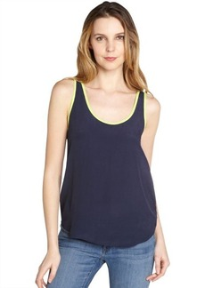French Connection nocturnal blue and techno lime 'May's Haze' sleeveless blouse