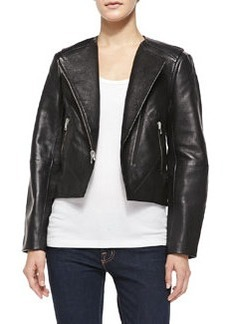 French Connection Northern Pebbled Leather Moto Jacket, Black
