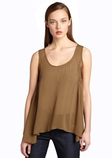 French Connection olive cotton blend crosshatched back tank blouse