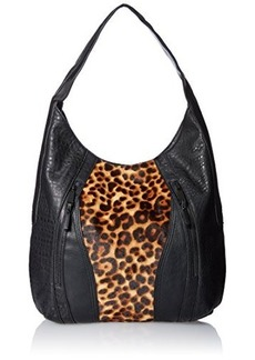 French Connection Ollie Hobo Bag, Black/Natural Leopard, One Size