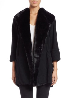 FRENCH CONNECTION Oversized Faux Fur-Trimmed Cardigan
