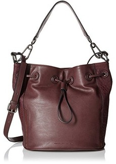 French Connection Paige Drawstring Bucket Bag, Biker Berry, One Size
