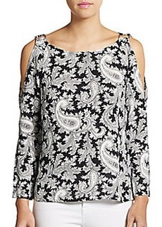 French Connection Paisley Cold-Shoulder Top