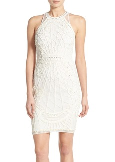 French Connection 'Pearl Cage' Embellished Illusion Back Sheath Dress