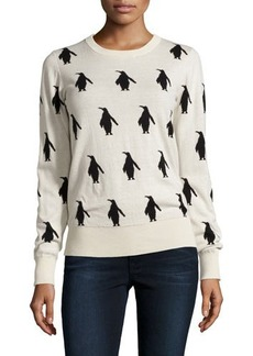 French Connection Penguin-Print Crewneck Sweater