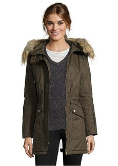 French Connection pine cotton twill faux fur hooded 3/4 length parka