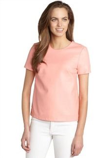 French Connection pink 'Athena' short sleeve faux leather top