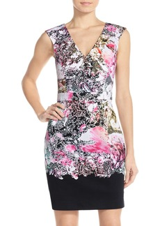 French Connection Placed Print Stretch Cotton Sheath Dress