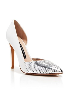 FRENCH CONNECTION Pointed Toe Perforated D'Orsay Pumps - Mabel High Heel