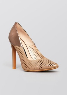 FRENCH CONNECTION Pointed Toe Perforated Pumps - Maya High Heel