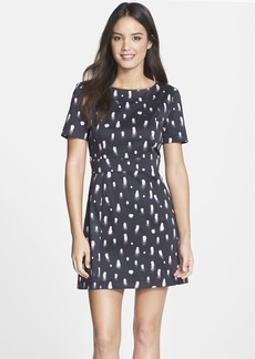 French Connection 'Polka Spray' Cutout Fit & Flare Dress