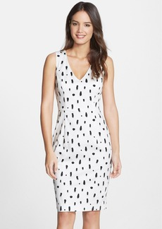 French Connection 'Polka Spray' V-Neck Cotton Sheath Dress