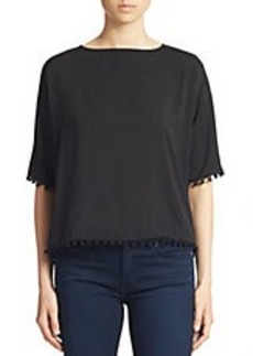 FRENCH CONNECTION Polly Plains Pom Pom Trim Top