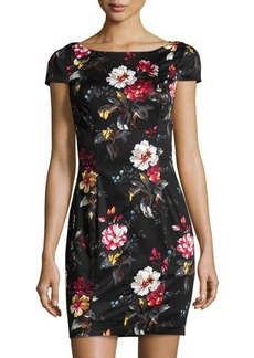 French Connection Poplin Garden-Print Sheath Dress