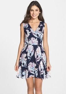French Connection Print Chiffon Fit & Flare Dress