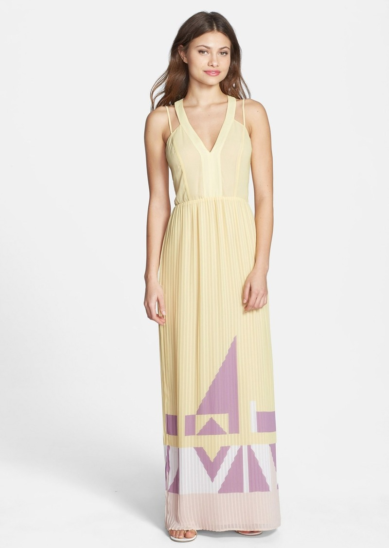 French Connection Print V-Neck Pleat Maxi Dress