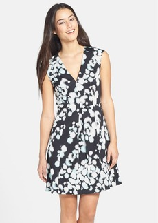 French Connection Printed Sleeveless V-Neck Fit & Flare Dress