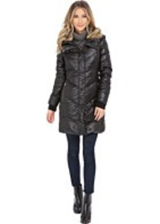 French Connection Puffer Coat w/ Fur Collar & Inside Bib