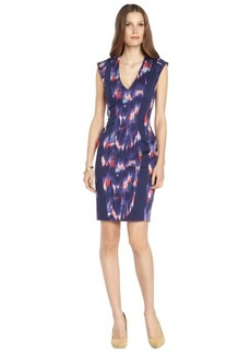 French Connection purple and flame watercolor cotton blend 'Electric Avenue' cap sleeve dress