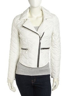 French Connection Quilted Zip Detailed Moto Jacket, Antique Lace